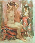 Seated Nude Original Oil Painting Maryse Ducaire Roque