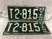 Vintage 1933 Tennessee License Plate Pair Taxi Rare Original Paint