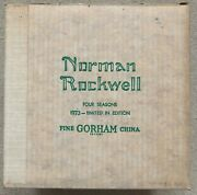 New In Org. Box Norman Rockwell Gorham 1973 Limited Ed. Four Seasons Wall Plates
