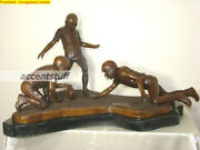 Large Solid Bronze Statue Of 3 American Boys Football Players Kicking 150 Lbs