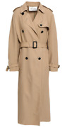 7250 Auth Nwt Valentino Beige Quilted Silk-crepe Long Trench Coat Sz It36/us2