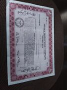 Antique Indian Motocycle Motorcycle Co Red 1948 Stock Certificate