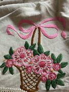Antique Ecru Arts And Crafts Mission Round Pink Embroidered Table Cover Basket
