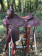 Western Brown Strip Down Leather Hand Carved Roper Ranch Saddle / Buck Stitch