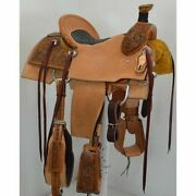 Western Leather Hand Carved And Tooled Roper Ranch Saddle With Suede Seat 206 17