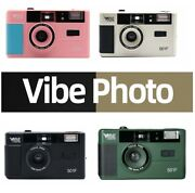 New - Vibe Photo 501f Vintage 35mm Reusable Film Camera Black Gold - Us