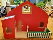 Toy Wooden Barn Opens Up -11 1/2and039and039 Tall X 15 1/4and039and039 Long X 9 3/4and039and039 Wide