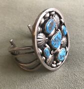 Vintage Native American Silver Metal And Turquoise Shadow Box Cuff Bracelet 141 G.