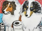 Sheltie With Toilet Paper Art Print 11 X 14 Dog Collectiblle Vintage Style Ksams