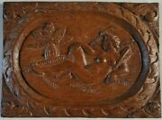 Wood Carved Bas Relief Antique Oak Pattern Woman Eve School Of Fontainebleau