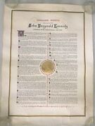 Vintage-rare Jfk Inaugural Address 24x18 With Gold Seal By Geyer Studio1966