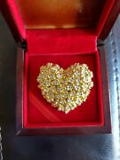 Best Proposal Gift Valentine Very Rare Jewelry Pure Gold Heart Brooch Over 30g