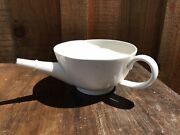 Antique Invalid Or Baby Feeder Porcelain Over Metal Pap Boat Cup Single Handle