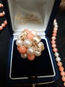 Beautiful Antique 14k Gold Genuine Angel Skin Coral Necklace And 14k Ring