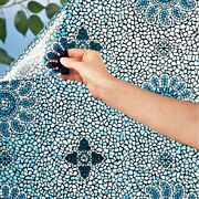 Blue Floral Mosaic Stained Glass Cut To Fit Printed Window Privacy Film 59x 18