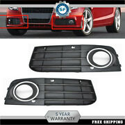 Pair Front Bumper Fog Light Grille Grill Cover For 2009-2012 Audi A4 B8 A4l