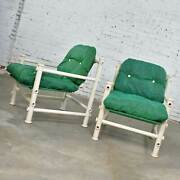 Pair Of Landes Pvc Outdoor Idyllwild Lounge Chairs W/ Green Mesh Upholstery By J