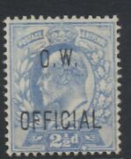 Gb 1902 21/2d Ultramarine O.w. Official -lightly Mounted Mint Sgo39 C.v. Andpound3400
