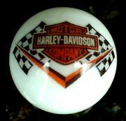 Rare Harley Davidson Racing Flags Orange Bar And Shield On 1 Inch White Marble New