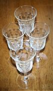 Set Of Four Cut Glass Cordial/wine Stems - Dots/leaves- Unknown Mfg - 5 Tall
