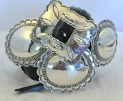 Uita 21 United Indian Trading C.1930+ Navajo Concho Belt Buckle Sterling Silver