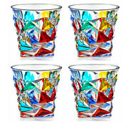 Cortina Stemless Wine   Old Fashioned Glasses - Set Of Four - Venetian Glassware