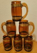 6 Brown Siestaware Glass Beer Mugs With Carved Wooden Handles Holds 16 Ozs