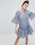 New Discontinued H By Henry Holland Navy Blue Floral Gingham Print Smock Dress