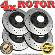 Rh0132 Front+rear Black Drilled Brake Rotors For 2005 2006 2007 Buick Allure