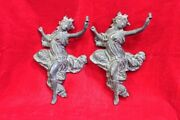 Brass Wall Figure Pair Old Vintage Antique Home Decor Collectible Pi-5