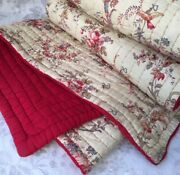 Beauty Vtg 19th C. French Quilt Boutis Bed Coverlet Birds Butterfly Pink Ribbon