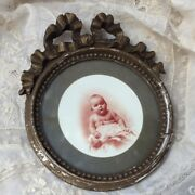 Exquisite Antique Shabby French Baby Frame Sepia Color Photo Gesso Ribbon Bow