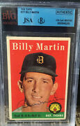 1958 Topps Billy Martin Signed Card 271 Jsa Authentic Coa Mint Auto Centered