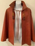Char Leather Santa Fe Poncho Cape Coat Hand Painted Vintage 70and039s Fred Leighton