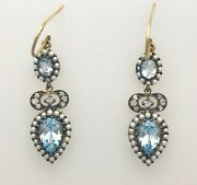 Real Diamond, Aquamarine And Pearl Antique Style Drop Earrings. 9ct Solid Gold.