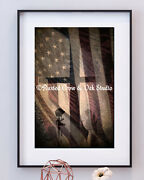Honor American Flag Cross Soldier Army Navy Marine Air Force Matted Picture A777