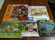 Lot Of 5 New Jigsaw Puzzlesvarious Themes500-1000 Piecesceacospringbokmore