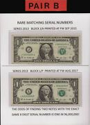 Rare Two 2 1 Notes With Matching 8 Digit Serials Three 3 To Choose From