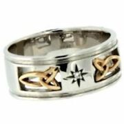 14k White + Yellow Trinity Inserts + 1.5mm Diamond Kintyre Celtic Wide Ring By