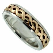 14k White + Yellow Celtic Weave Knot Harrow Ring By Keith Jack
