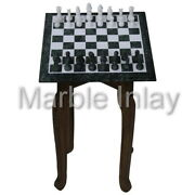 12x12 Inch Chess Board Green Marble Antique Chess Set Indoor Games Vintage Art