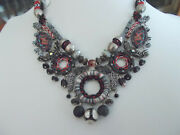 Ayala Bar Statement Necklace, Fabric, Beads, Glass, Silver Accents, Israel, Nwt
