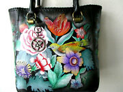Anuschka Vintage Bouquet Hand Painted Leather Tall Tote With Double Handle - Nwt