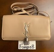 Yves Saint Laurent Kate Tassel Leather Baquette Sand Brand New 100 Authentic