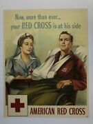 1943 Authentic Wwii Poster - American Red Cross W/ Nurse And Injured Soldier