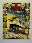 Vintage 1930and039s Progress With American Junior Red Cross By D Lowry Poster
