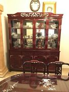 Vintage Asian Mother Of Pearl Inlaid Rosewood China Cabinet.