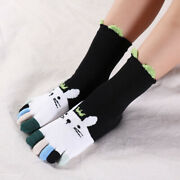 4 Pairs Kids Girls Cotton Five Finger Toe Socks Casual Sweet Soft Assorted Color