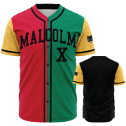 Malcolm X Color Block -90and039s Style Vintage Black Panther Party - Baseball Jersey