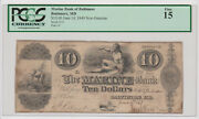 10 Senc The Marine Bank Baltimore Maryland Md Obsolete Currency 1849